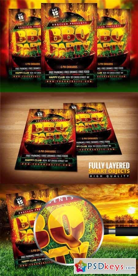 bbq party flyer 348970 free download photoshop vector stock image