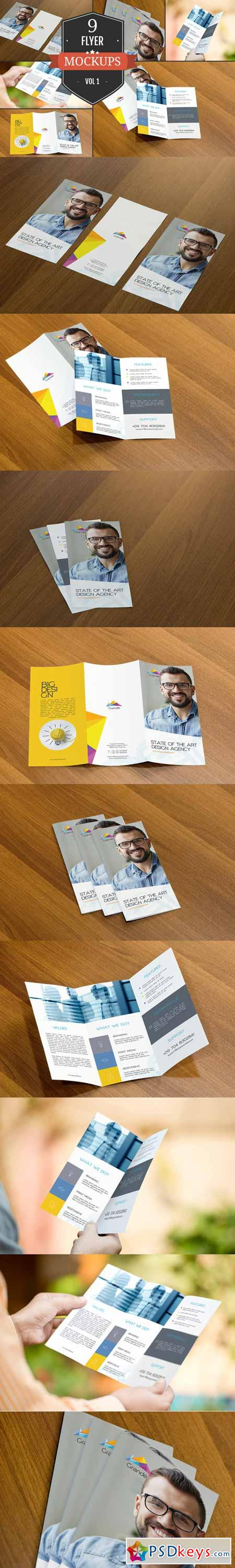 Attractive Flyer Mockup PSDs Vol. 1 351435