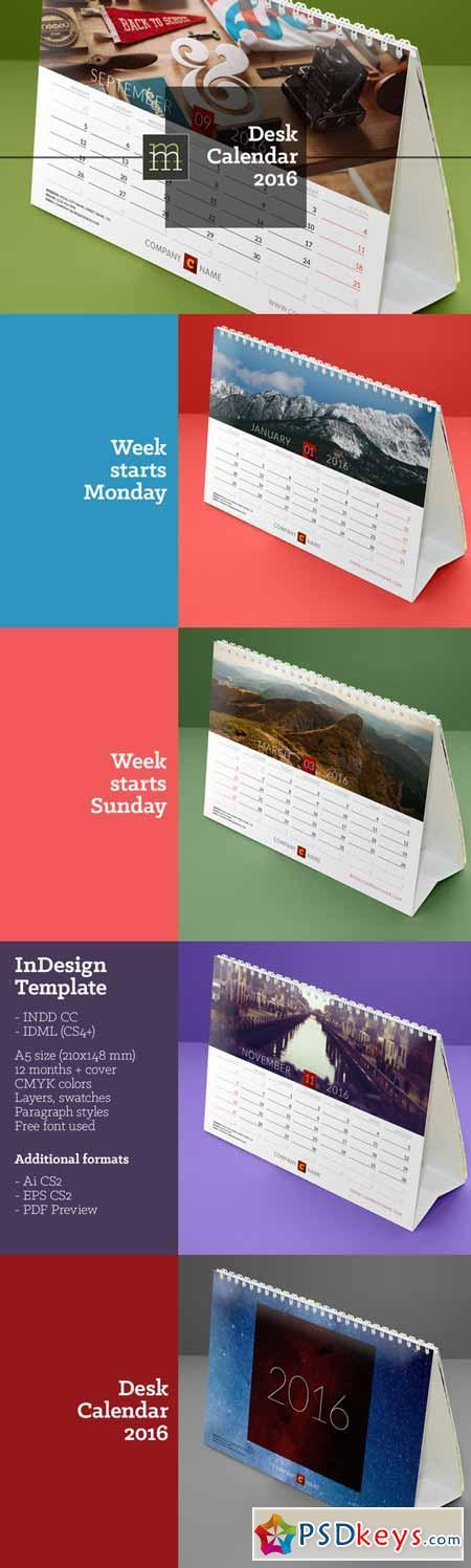 2016 Calendar Template Indesign from psdkeys.com
