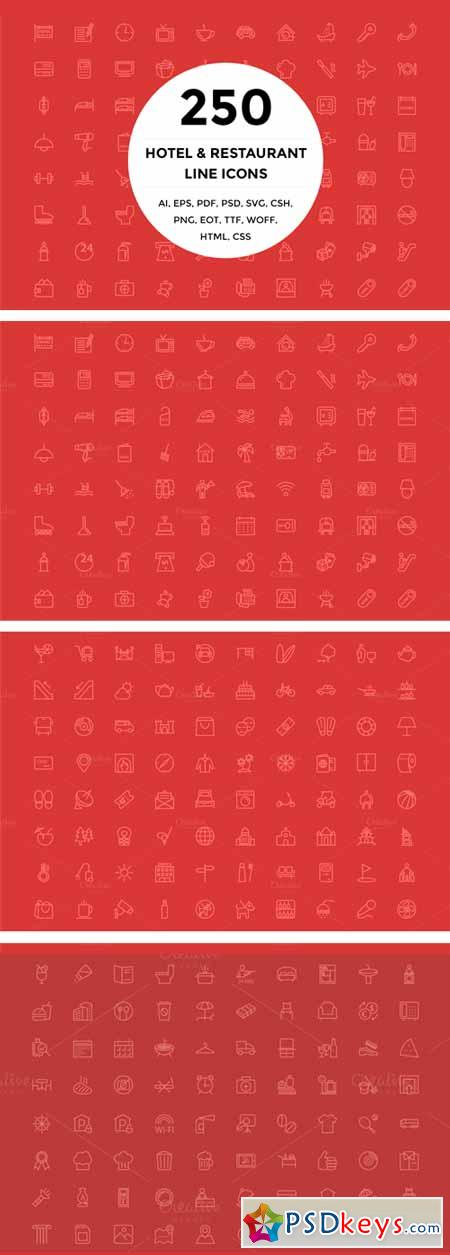 250 Hotel and Restaurant Line Icons 140815