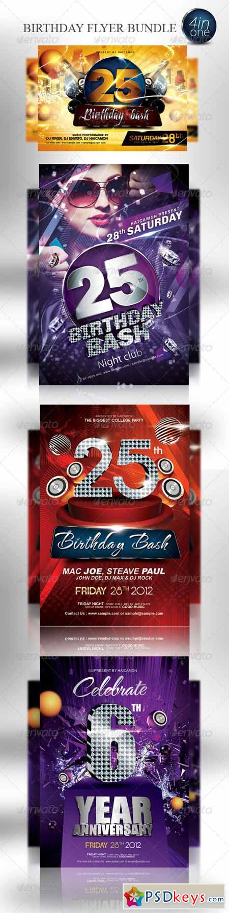birthday party invitation flyer bundle 3044323 birthday party invitation flyer bundle 3044323