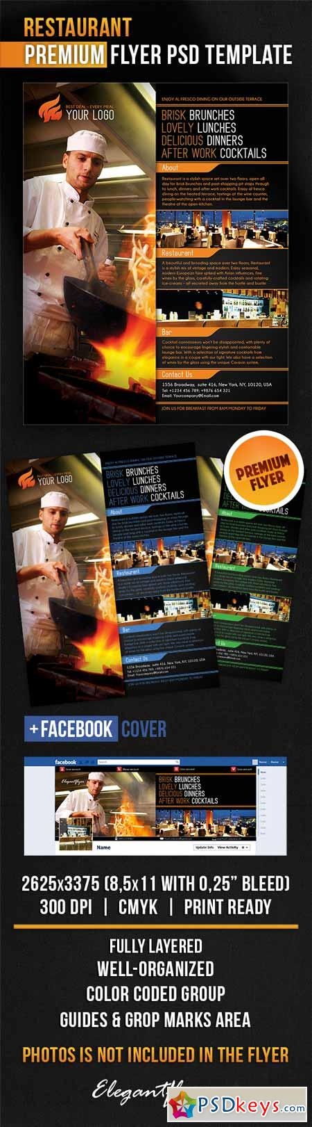 Restaurant flyer psd template facebook cover free