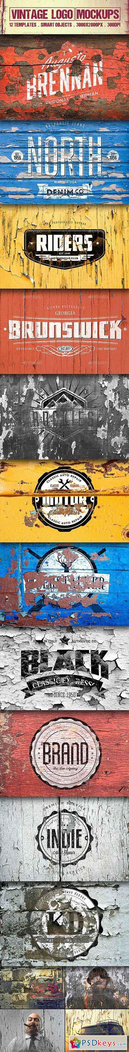 12 Vintage Logo Mockups Vol.2 12707280