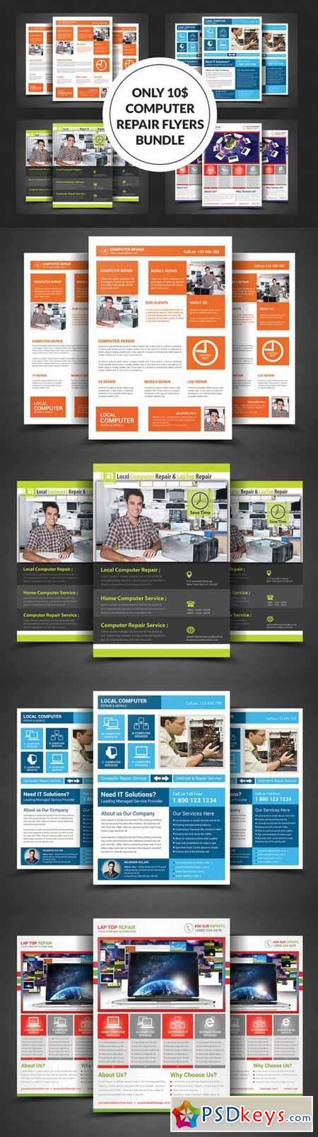 Computer Repair Flyer Bundle 341135 » Free Download Photoshop
