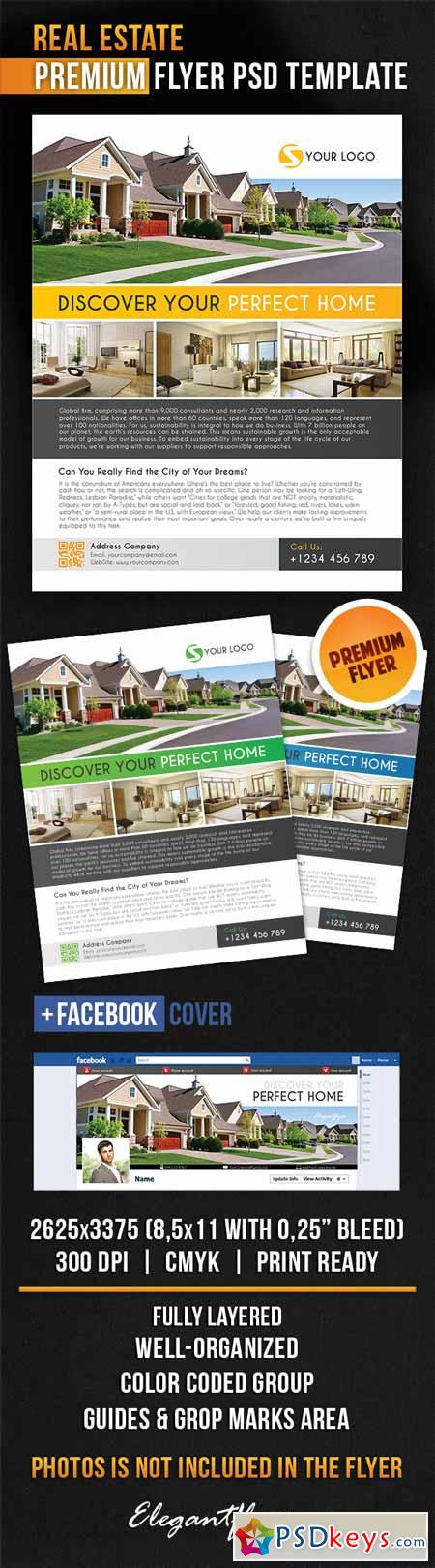 Real Estate – Flyer PSD Template + Facebook Cover