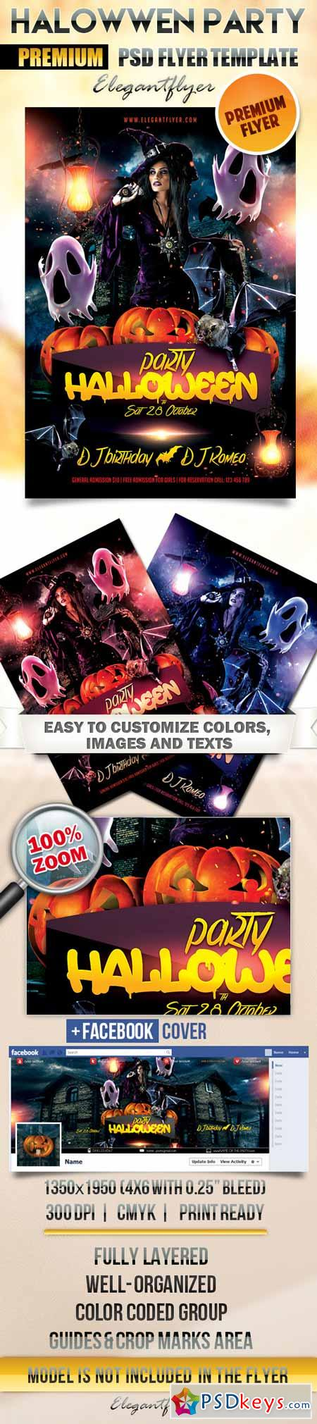 Halloween party – Flyer PSD Template + Facebook Cover » Free ...