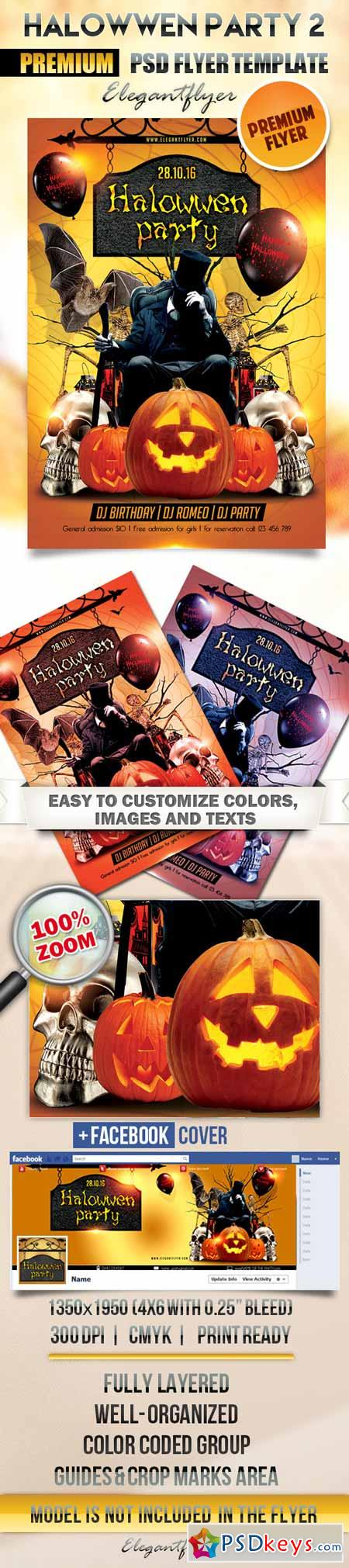 Halloween party 2 – Flyer PSD Template + Facebook Cover