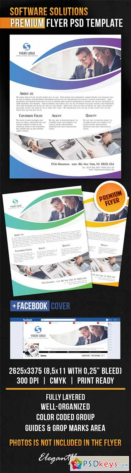 software brochure template - software solutions flyer psd template facebook cover
