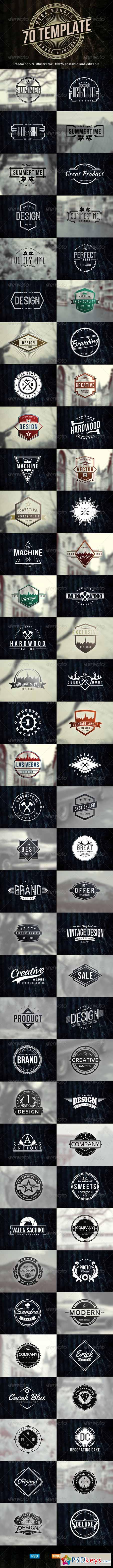 70 Logo Badge Insignia Templates Bundle 7909487