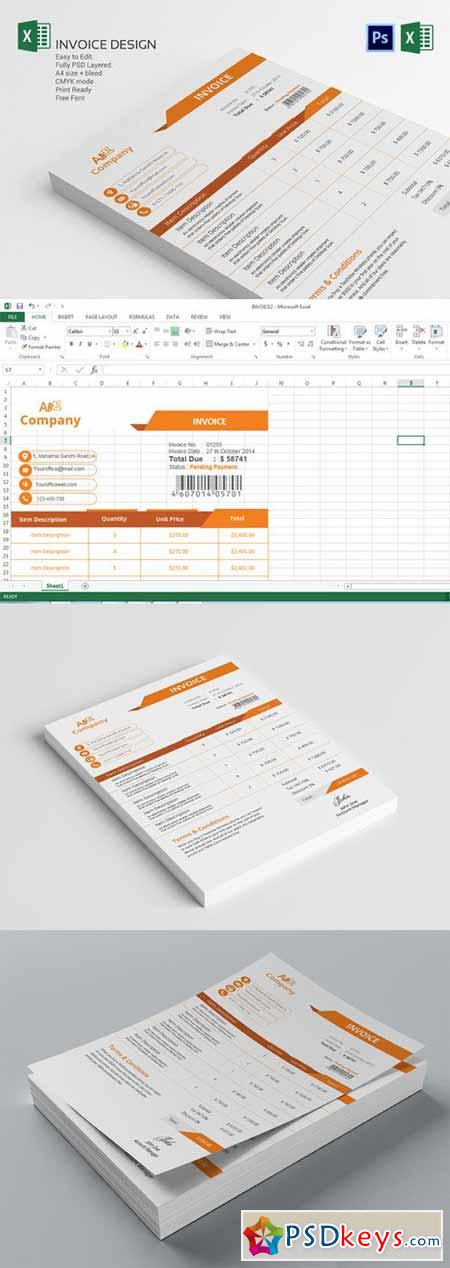 invoice template design 360261 » free download photoshop vector, Simple invoice