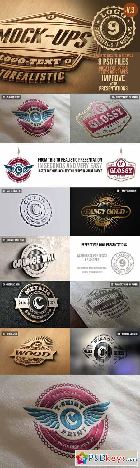 Photorealistic Logo Mock-Ups Vol 3 17863 » Free Download Photoshop