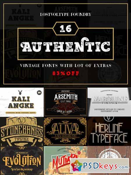 Authentic Vintage Fonts Bundle 368567