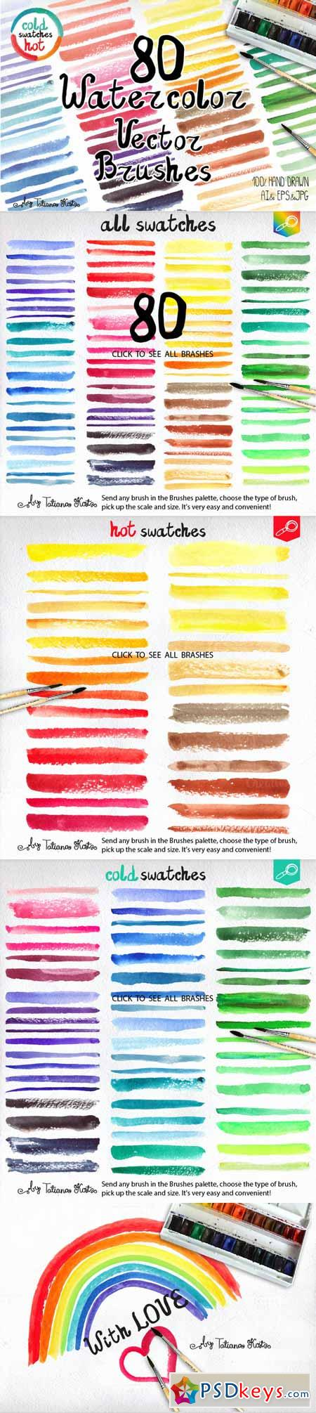 80 Watercolor Vector brushes 362349