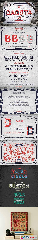 Dacota Layered Typeface + Extras 367495