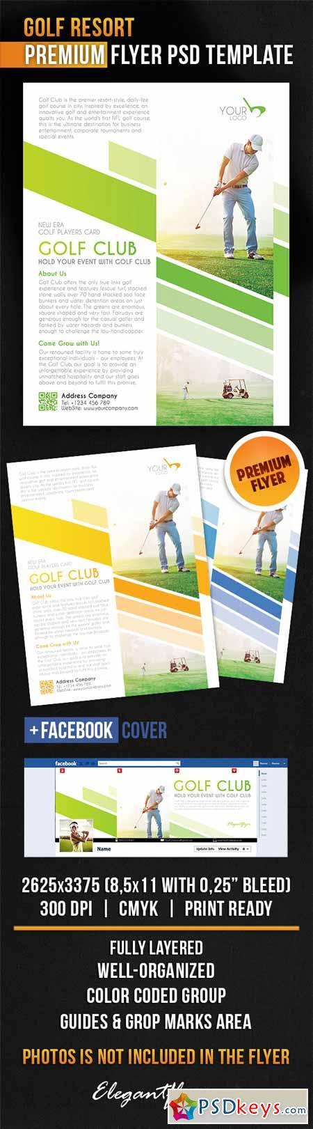 Golf Resort – Flyer PSD Template + Facebook Cover