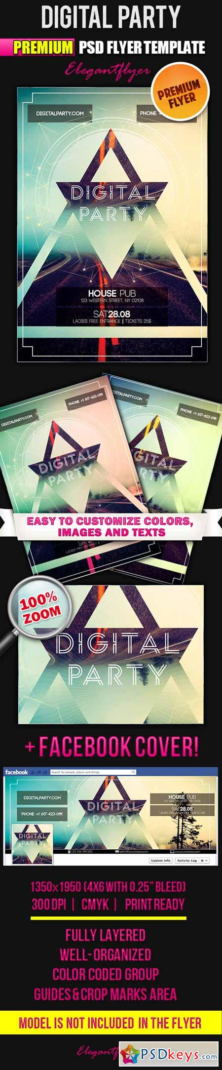 Digital Party – Flyer PSD Template + Facebook Cover