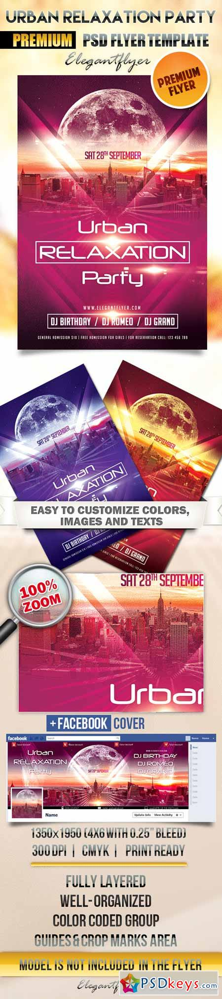 Urban Relaxation Party – Flyer PSD Template + Facebook Cover