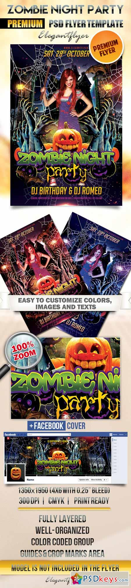 Zombie Night Party – Flyer PSD Template + Facebook Cover