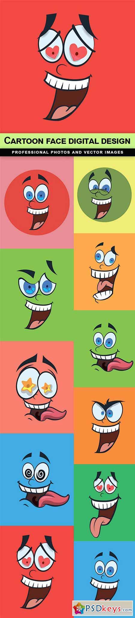 Cartoon face digital design - 11 EPS