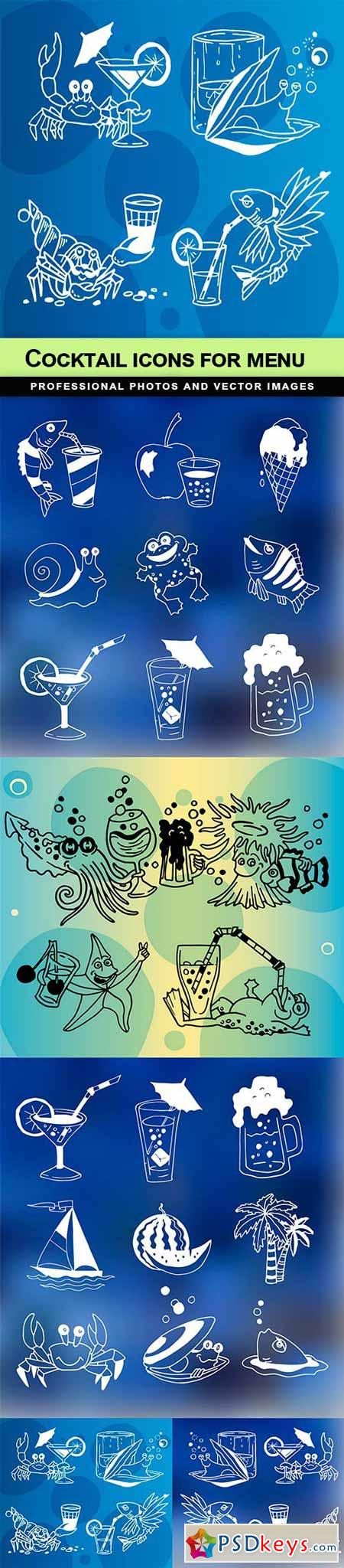 Cocktail Icons for menu - 5 EPS