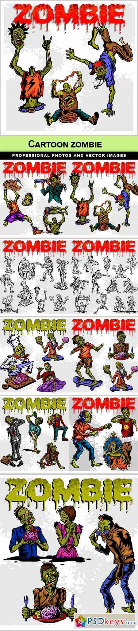 Cartoon zombie - 9 EPS