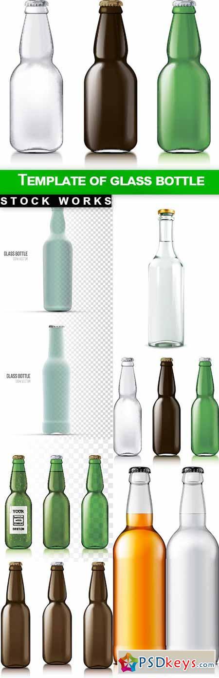 Template of glass bottle - 8 EPS