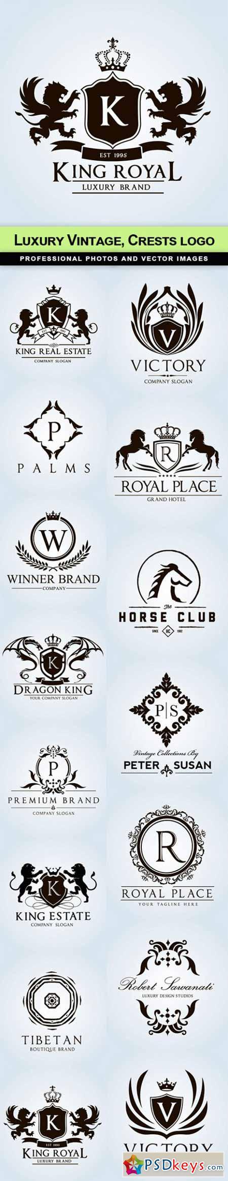 Luxury Vintage, Crests logo - 15 EPS