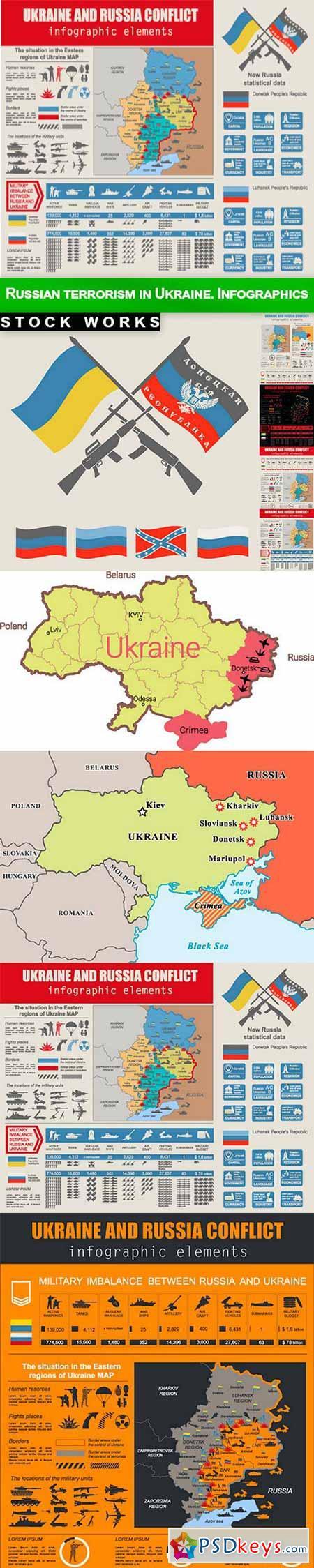 Russian terrorism in Ukraine. Infographics - 9 EPS