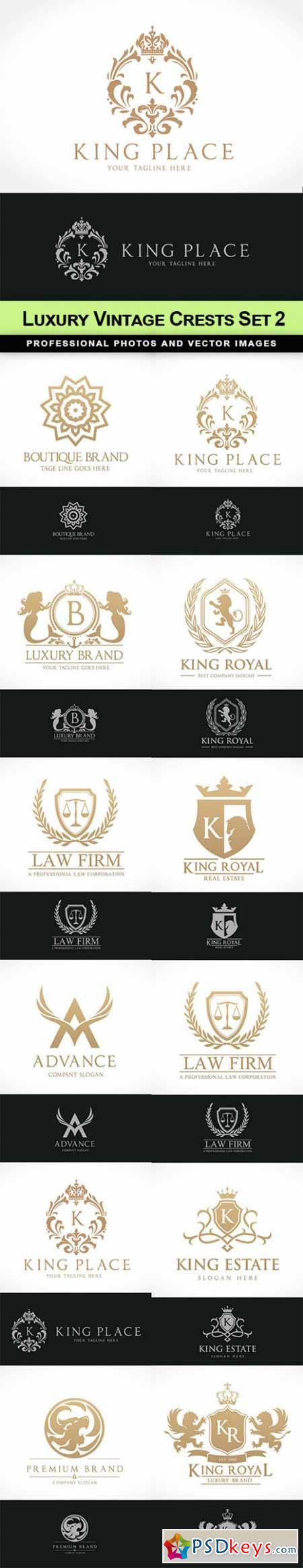 Luxury Vintage Crests Set 2 - 12 EPS