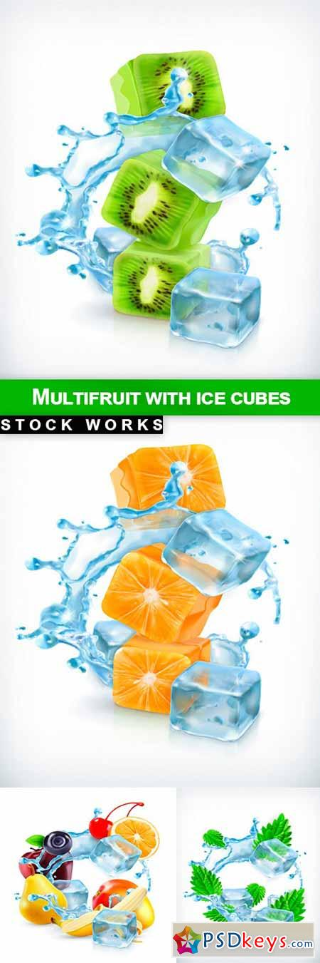 Multifruit with ice cubes - 5 EPS