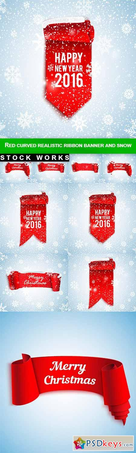 Red curved realistic ribbon banner and snow - 9 EPS