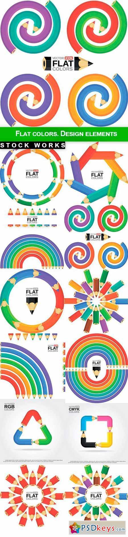 Flat colors. Design elements - 12 EPS