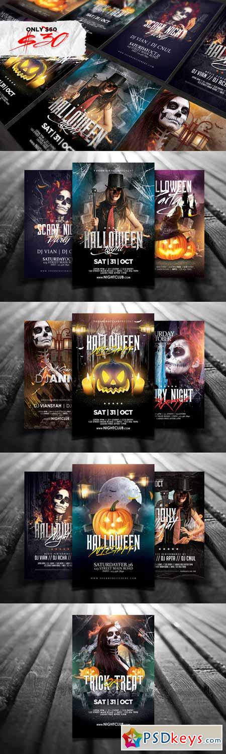 10 Halloween Flyers Bundle 371918