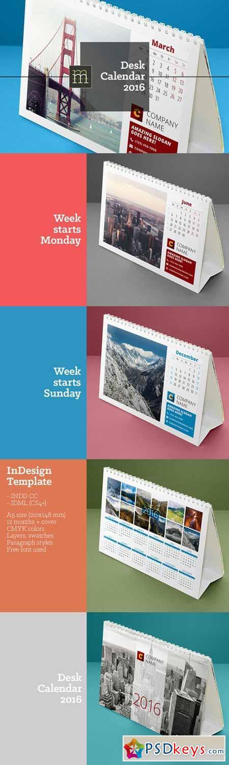 desk calendar 2016 373010 free download photoshop vector stock