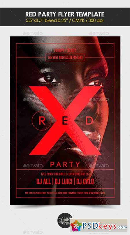 Red Party Flyer Template 12754213