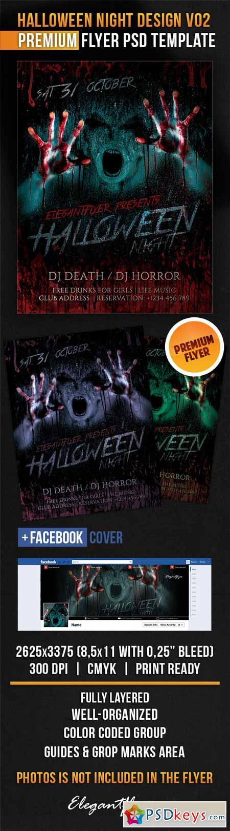 Halloween Night Design V02 – Flyer PSD Template + Facebook Cover