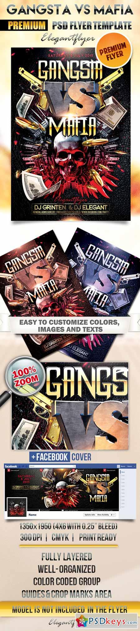 Gangsta vs Mafia – Flyer PSD Template + Facebook Cover