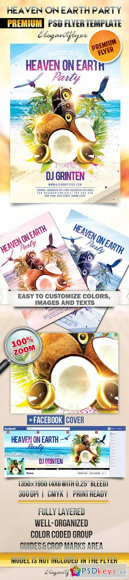 Heaven on Earth Party – Flyer PSD Template + Facebook Cover
