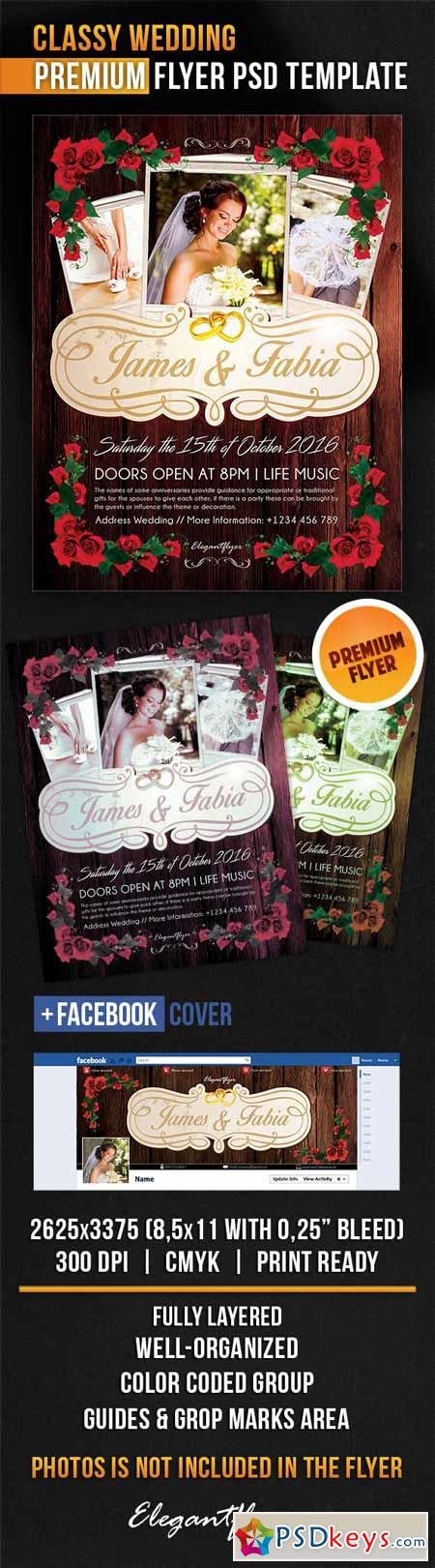 Classy Wedding – Flyer PSD Template + Facebook Cover