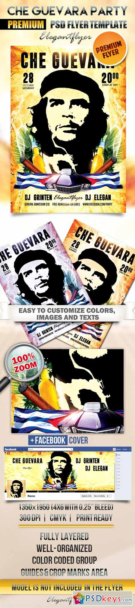 Che Guevara Party Flyer Psd Template Facebook Cover Free