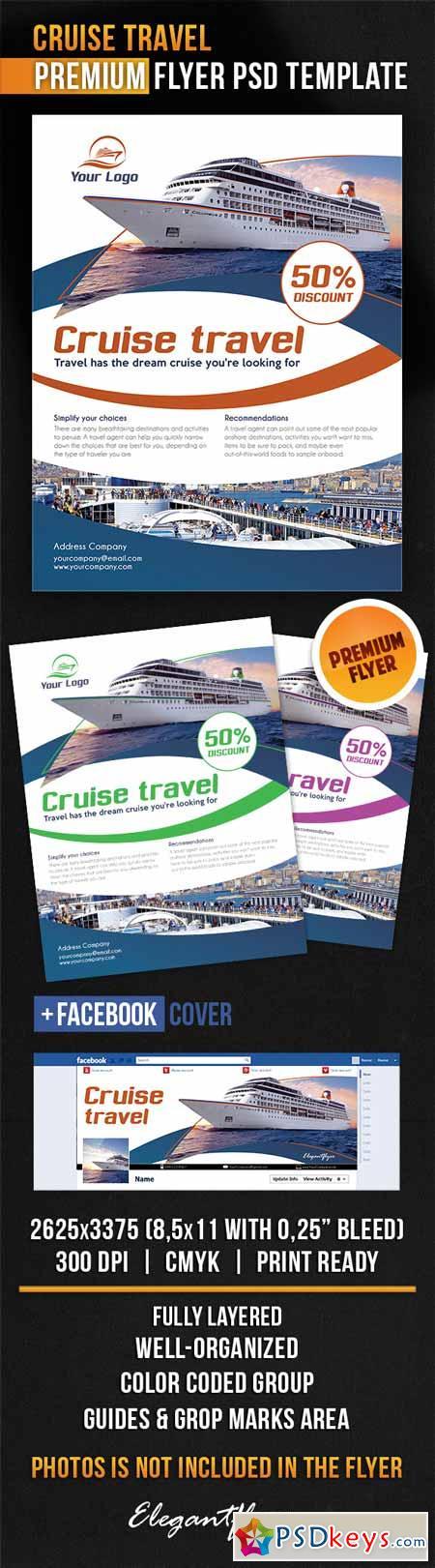 Cruise Travel – Flyer PSD Template + Facebook Cover