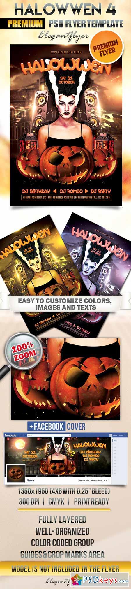 Halowwen 4 – Flyer PSD Template + Facebook Cover