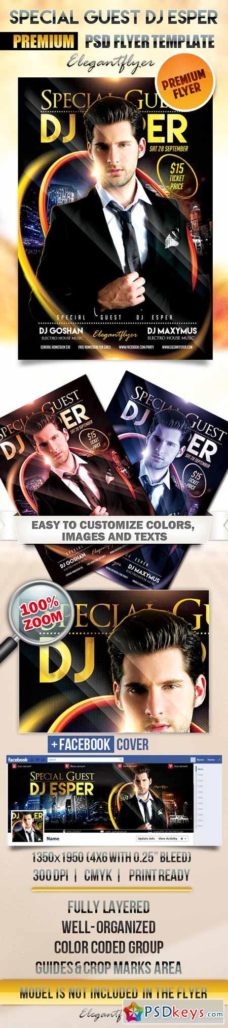 Special Guest Dj Esper – Flyer PSD Template + Facebook Cover