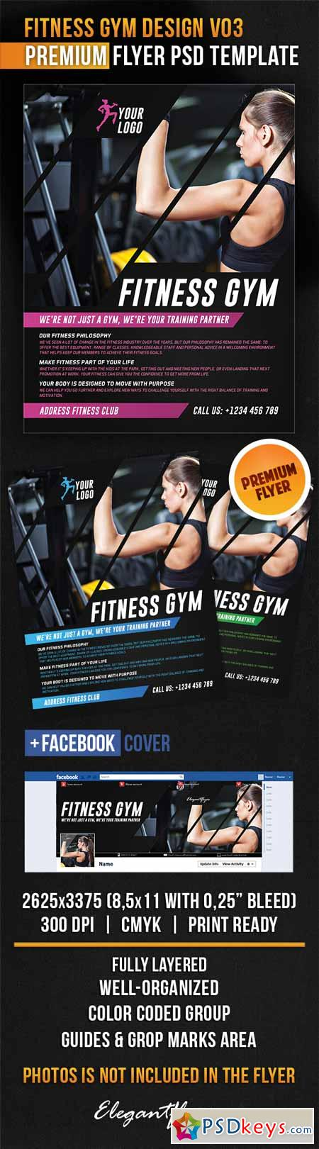 Fitness Gym Design V03 – Flyer PSD Template + Facebook Cover
