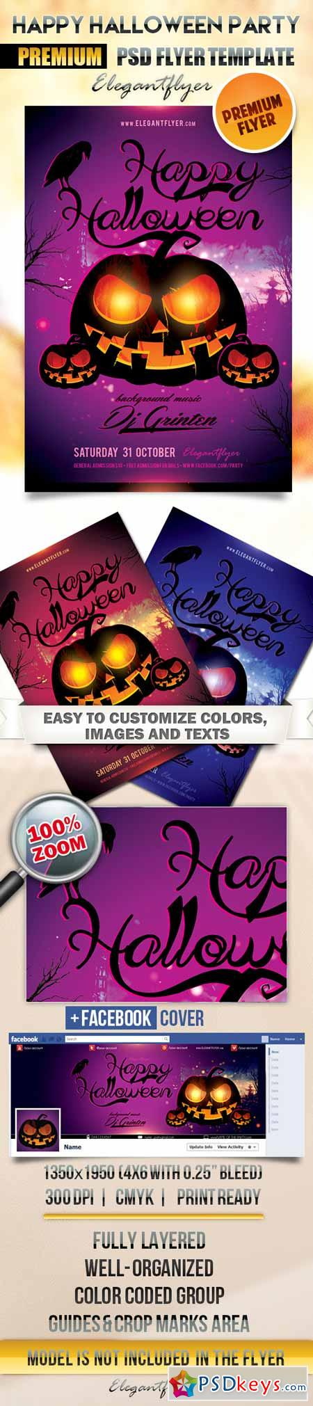 Happy Halloween party – Flyer PSD Template + Facebook Cover