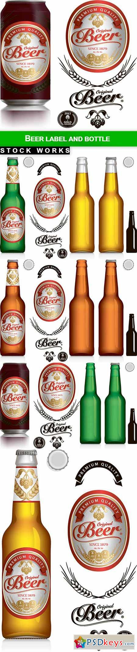 Beer Label and bottle - 8 EPS