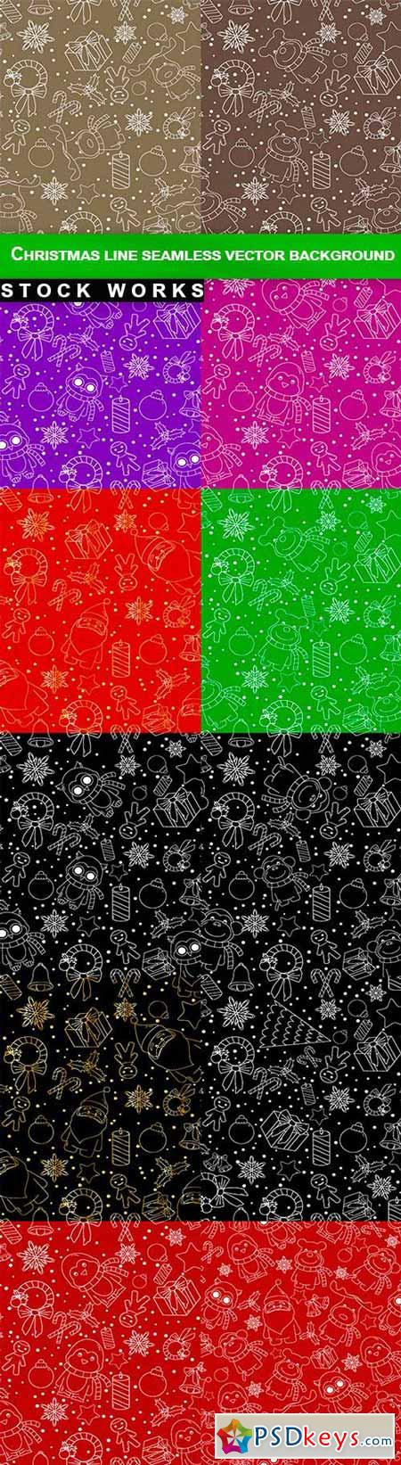 Christmas line icons seamless vector background - 12 EPS