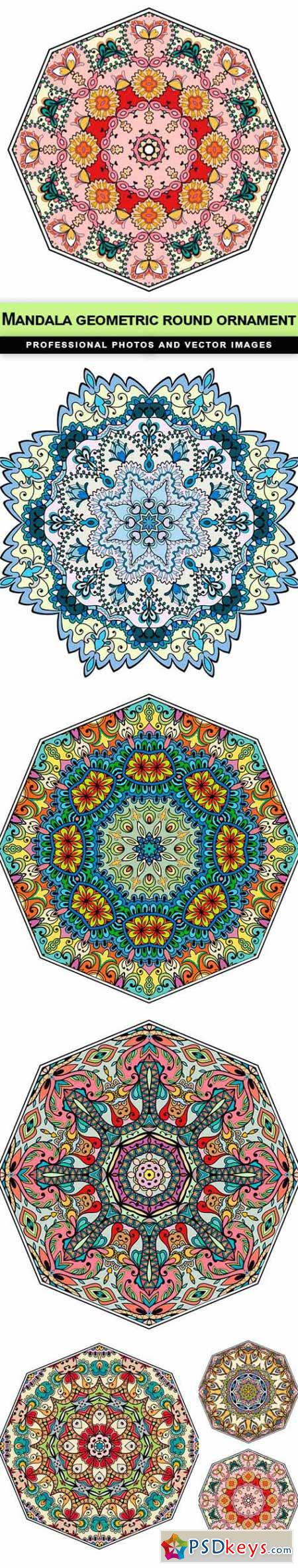 Mandala geometric round ornament - 6 EPS