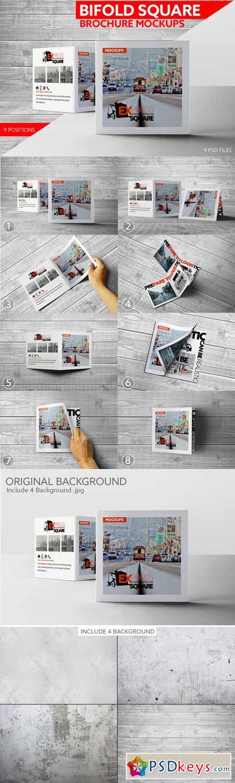Bifold Square Brochure Mockups 374497