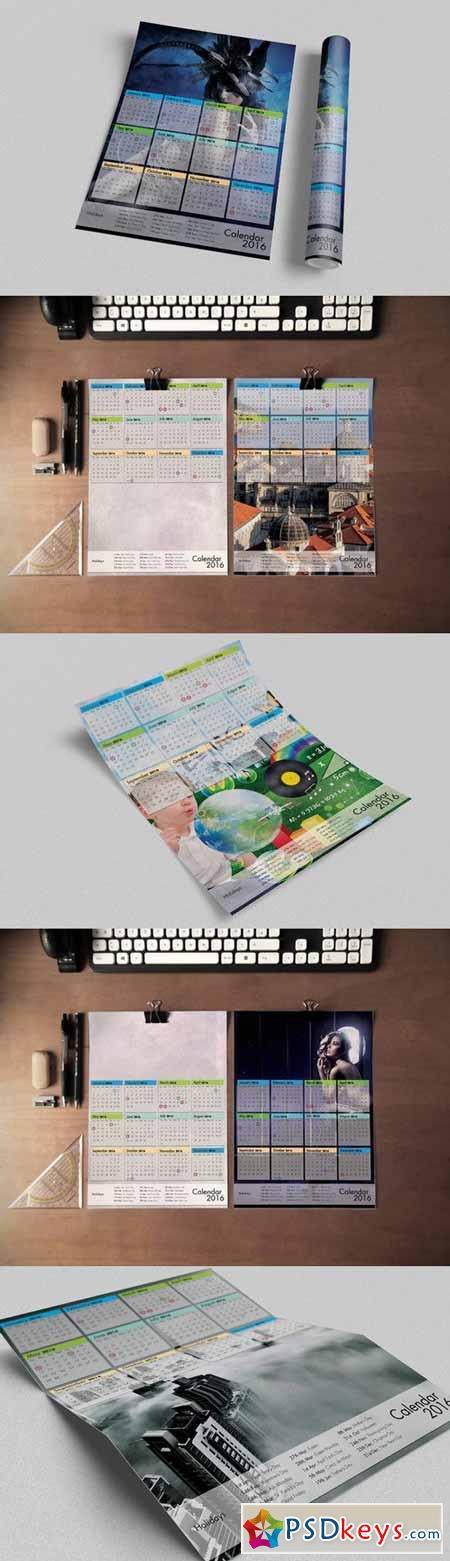 Calendar 2016 Template - A3 Portrait 377572
